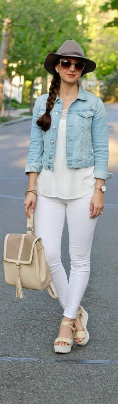 Platforms ,White  jeans,white top,denim jacket