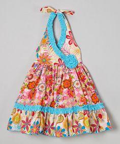 Look what I found on #zulily! Orange & Pink Floral Bailey Dress - Toddler & Girls by Sage & Lilly #zulilyfinds