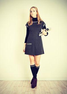Handmade Gray dress Shift dress Spring dress Knit dress Cute dress by folco