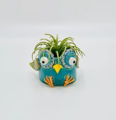 Turquoise Owl Ceramic or Pottery Vase or Pencil Holder in White Clay Inside The Box, Ceramic Animals, Pottery Designs, Pencil Holder, White Clay, Studio Art, Pottery Vase, Plant Holders, Art Studios
