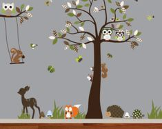 Vinyl Nursery Wall Decal Forest Tree with by wallartdesign on Etsy