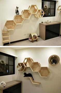Recycled Wooden Pallet Table Furniture Projects – Wooden DIY Ideas – To … - Katzen Wooden Pallet Table, Pallet Crates, Pallet Shelves, Wooden Pallets, Diy Cat Shelves, Pallet Tables, Pallet Bench, Pet Furniture, Furniture Projects