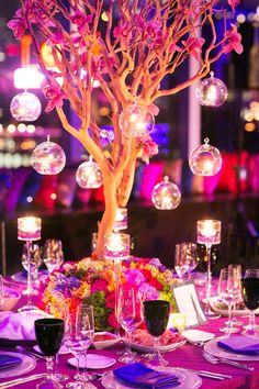 Love these hanging lamp #centerpieces at this #white #purple and #pink #wedding #reception ! #diy #unique #weddingideas #weddinginspiration #ideas #inspiration #rentmywedding #celebration #party By #TantawanBloom