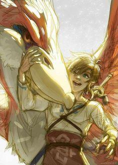Link with his Crimson Loftwing | soooooo pretty! I love the soft style