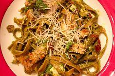 Crispy Baked Chicken Alfredo over Kale Pesto Fettuccini