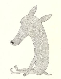 Still waiting for you / Funny animal / Hairy animal / ORIGINAL ILLUSTRATION / Many lines / White / Sad story / Feeling tierd by Tosya on Etsy