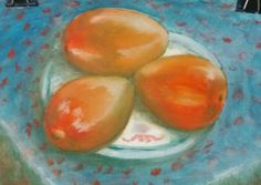 Still life with mango. Oil/canvas.