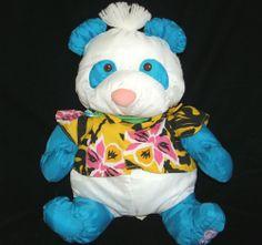 1987 Fisher Price The Wild Things BLUE & WHITE PUFFALUMP PANDA BEAR Plush SHIRT - Still have mine!