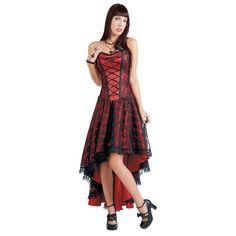 "Burleska Lange jurk, Vrouw ""Mollflander"" rood-zwart • Large"