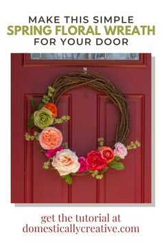 I've been looking for a simple DIY wreath and I love the simplicity of this floral wreath for Spring. I think it would look great on our front door and the tutorial makes it look simple. Diy Home Crafts, Fun Crafts, Creative Crafts, Fall Wreaths, Christmas Wreaths, Diy Spring, Indoor Wreath, Diy Wreath, Wreath Ideas