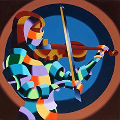 The Violinist Abstract Futurism Oil and Acrylic (Mixed Media) Painting by Northern California Artist