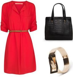 Give your casual dresses collection a chic makeover with this red flowy dress from Mango. You can make a bold and sophisticated style statement with it. Dont forget to carry a black croc-effect bag along, complete your look with a chic gold bracelet.