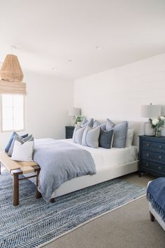 We loved designing the Entry Living Room Kitchen Master Bedroom Master Bath and Powder Bath for our clients North Beach Bungalow Pure Salt Interiors Laguna Beach based i. Beach House Bedroom, Beach House Decor, Home Decor Bedroom, Bungalow Bedroom, Beach Houses, Bedroom Ideas, Bungalow Kitchen, Beach Inspired Bedroom, Hamptons Bedroom