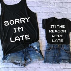 sorry I'm late - mom and me - mommy and son shirts - mom life shirt - mothers day gift - new mom gif Mommy And Me Shirt, Mommy And Me Outfits, Mom And Me, Mommy And Son, Baby Outfits, Baby Shirts, Kids Shirts, Momma Shirts, Vinyl Shirts