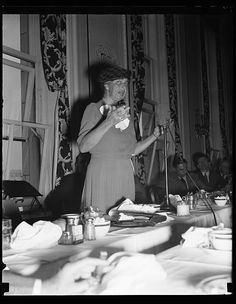 First lady breaks precedent in speaking to members of nation press club, September 28, 1938. Mrs. Franklin D. Roosevelt broke a rule of many year's standing. She is the first woman to have addressed the newsmen at a regular luncheon meeting since the organization of the club in 1905. Harris & Ewing Collection, Library of Congress Prints and Photographs Division.