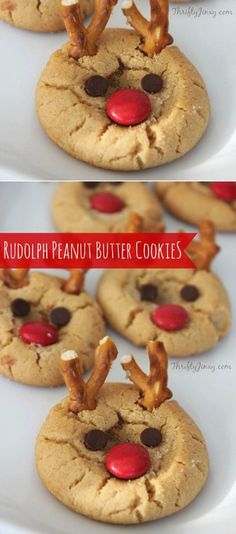 This Rudolph Peanut Butter Cookie Recipe is so easy and super fun for Christmas with your kids. #cookies