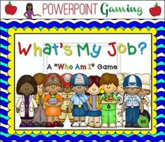 """Engage students with this fun, interactive community helpers game. In this """"Who am I"""" game, students must guess the community worker. There are 10 questions and you just click on each question to go to it.  Each question has 3 clues and student have to guess which community helper it describes."""