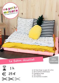DIY : mon futon matelassé et douillet fiche technique futon BD Coin Couture, Baby Couture, Couture Sewing, Diy Pillows, Cushions, Decorative Pillows, Futon Diy, Asian Decor, Diy Furniture