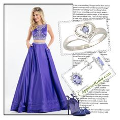 """""""REAL TANZANITE AND DIAMOND FLOWER  jewelry ApplesofGold.com 11"""" by marina-555 ❤ liked on Polyvore featuring Rachel Allan and Nina Ricci"""
