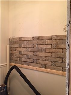 DURING: Backsplash is up! Waiting for grout, tomorrow. Grout, Backsplash, Laundry Room, Waiting, Home, Ad Home, Laundry Rooms, Homes, Haus