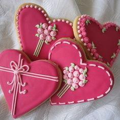 Heart Flowers Cookies