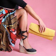 Sante εσπαντρίγιες σατέν μαύρο Spring Fashion, Espadrilles, Wedges, Satin, Shoes, Style, Fashion Spring, Espadrilles Outfit, Swag