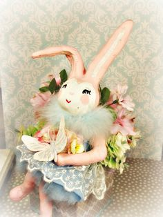 Easter centerpiece pastel spring decor paper clay bunny rabbit pink bunny Easter decorated box butterfly vintage retro inspired ooak art by sugarcookiedolls on Etsy