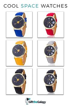 Cool Space Watches found on GiftTheGalaxy.com | Moon Phases Watch Timepiece Leather Strap Solar System Orbiting Time Clock Multi-Colored Many Color Options Red Blue Yellow Watch Cheap Affordable Cool Space Gifts Moon Lovers Space Traveler >> GiftTheGalaxy.com #GiftTheGalaxy @GiftTheGalaxy Galaxy Wedding, Space Jewelry, Time Clock, Moon Lovers, Space And Astronomy, Moon Phases, Solar System, Casio Watch, Blue Yellow