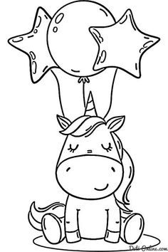 Unicorn Coloring Pages, Easy Coloring Pages, Free Printable Coloring Pages, Coloring Pages For Kids, Coloring Books, Disney Coloring Pages Printables, Free Coloring, Art Drawings For Kids, Easy Drawings