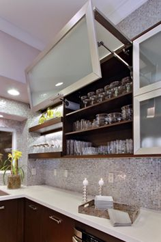 cool cabinets and gorgeous sparkle tile