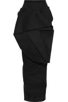 RICK OWENS RICK OWENS WOMAN RIBBED KNIT-PANELED GATHERED WOVEN MAXI SKIRT BLACK. #rickowens #cloth Pencil Skirt Work, Knit Pencil Skirt, Rick Owens Women, Maxi Skirt Black, Womens Maxi Skirts, Peplum Dress, Woman, Knitting, Clothes