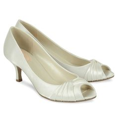 aaba69374c Pink by Paradox London Satin 'romantic' mid kitten heel peep toe shoes.  Crystal Bridal Accessories