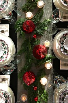 Holiday Q Squared Winter's Eve Table Setting with Cranberry Pear Chutney Appetizer ReluctantEntertainer.com