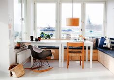 Dining area with white, blue and wood
