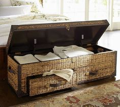 With a simple and casual design, the Remi Blanket Box is a beautiful piece for the bedroom. It's a very beautiful item crafted by artisans and it has a rus