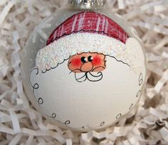 santa ornament hand painted glass 4 by glassygirl21 (etsy shop)