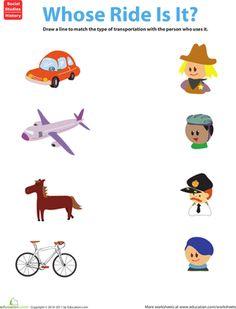 Modes of Transportation | Transportation, Worksheets and Kindergarten