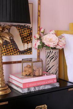 bedside table styling in pink, black and gold Bedroom Decor On A Budget, Modern Bedroom Decor, Decorating On A Budget, Bedroom Ideas, Farrow Ball, Bedside Table Styling, Dresser Styling, Bedside Tables, Pink Master Bedroom