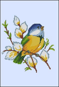 bird with pussy willows Cross Stitch Fruit, Cross Stitch Heart, Cute Cross Stitch, Cross Stitch Animals, Cross Stitch Flowers, Cross Stitch Designs, Cross Stitch Patterns, Crochet Cross, Filet Crochet