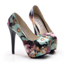$14.45 Stylish Women's Super High Heel Pumps With Floral Print Design