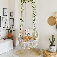 Room Ideas Bedroom, Bedroom Decor, Glam Bedroom, Bedroom Chair, Hammock In Bedroom, Living Room Hammock, Swinging Chair, Swing Chair Indoor, Cute Room Decor