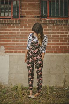 Love this pattern mixing with overalls! I think this particular pair is from Forever21...