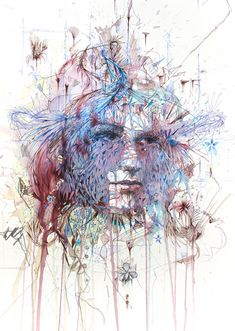 Working primarily with calligraphy ink and liquids like tea, brandy and whisky,Carne Griffiths draws both human and floral forms in the most unique and abstract way.