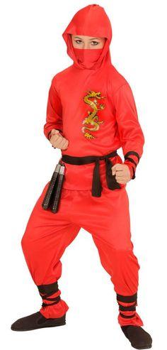 Ninja Kämpfer Kinderkostüm in Rot