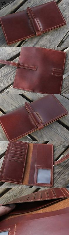 Handmade vintage purse leather wallet long phone wallet clutch wallet red