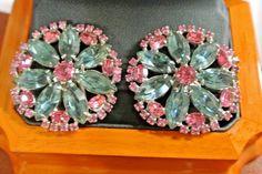 Vintage Signed Weiss Rhinestone Earrings Clip On Pink Gray/Blue Rhinestones #Weiss