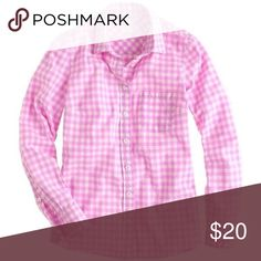 J Crew Perfect shirt in gingham EUC - selling as it's now too small.  Such a great color! Good for year-round wear. J. Crew Tops Button Down Shirts