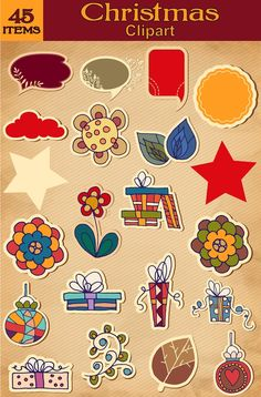 Christmas Clipart 45 Items - WHIMSICAL Vintage CHRISTMAS Clip Art Graphic Design Images Xmas Printables DIY Digital Download by graficaitalia on Etsy