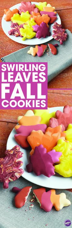 How to Make Swirling Leaves Fall Cookies - Smooth, shiny Wilton Color Flow icing mix perfectly captures the colors of autumn leaves on these sweet swirled cookies. Make a batch to give your Thanksgiving hosts!