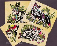 Day of the Dead POSTCARDS Skeleton Woodland Animals- Set of 4 Designs sugar skulls